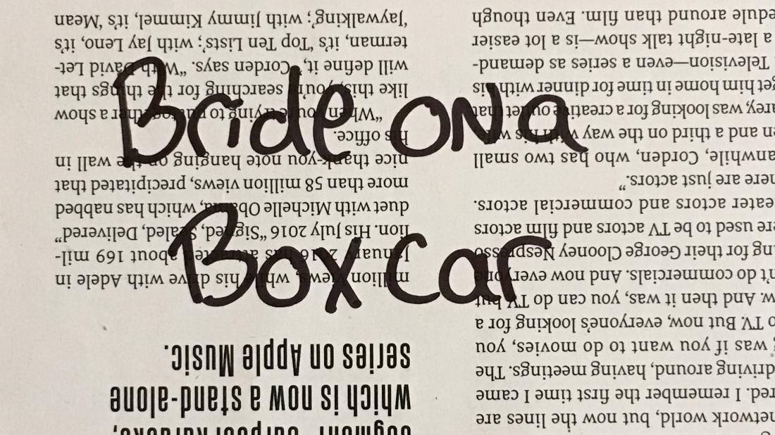 Bride on a boxcar
