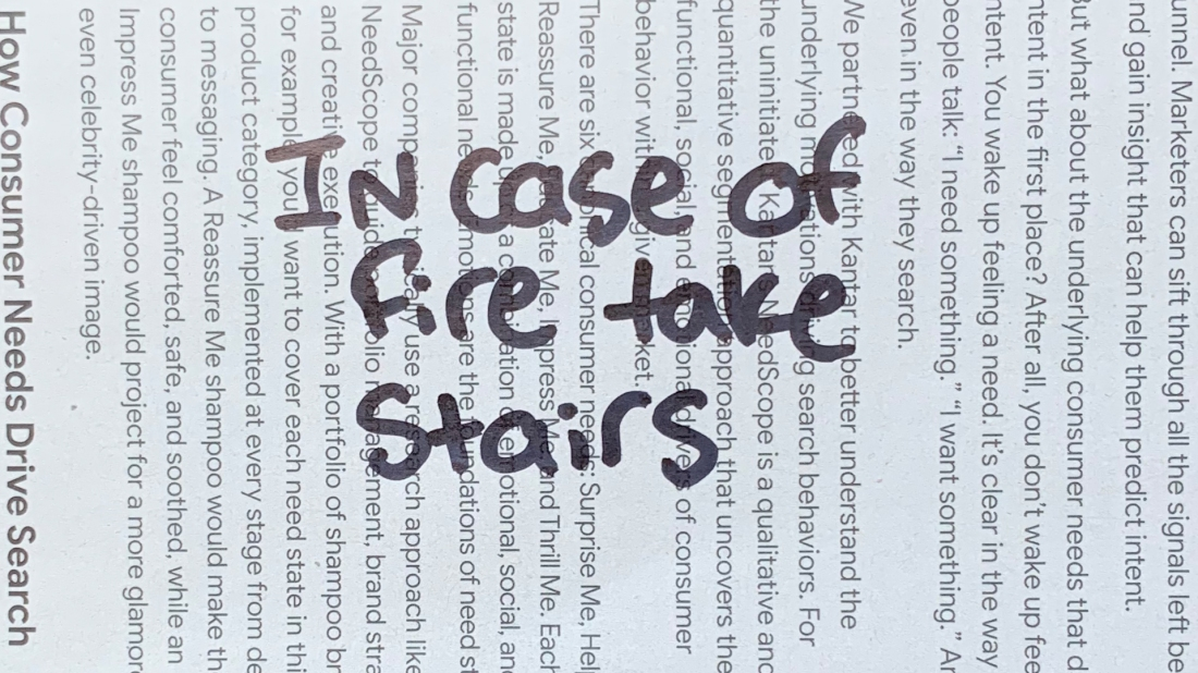 In case of fire take stairs