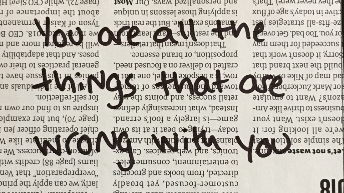 You are all the things that are wrong with you
